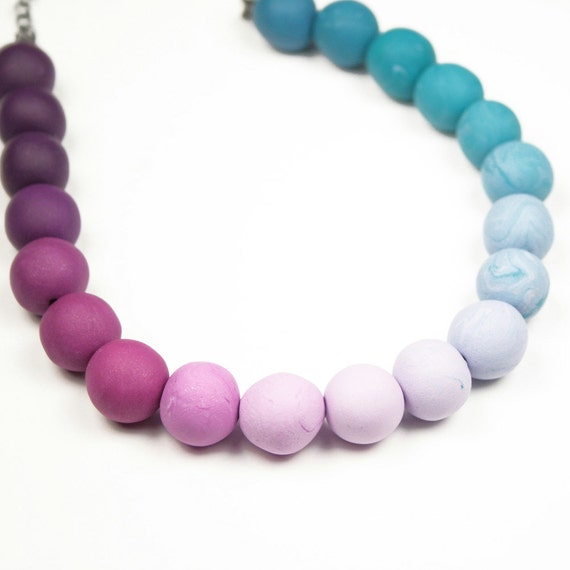 Ombre Necklace, Teal to Purple