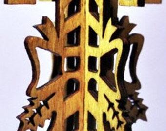 3-D Candy Cane Wood Ornament