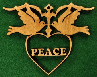 Wood Peace in Doves Ornament