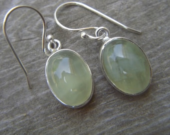 Prehnite earrings in sterling silver