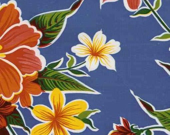 Hibiscus Flower on Blue OilCloth Yardage