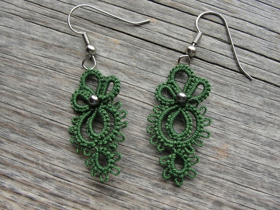 Tatted Earrings -  Tiny Owls