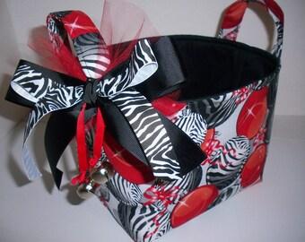 Zebra Red Christmas Balls Bells Fabric Gift Basket / Organizer Bin