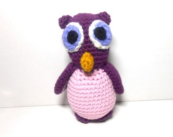 Purple and Pink Owl, Crocheted Owl, Owl