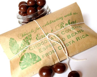 RESERVED. Unique Favors. Chocolate Covered Coffee Beans with Custom Stamp. Shipping Add on.