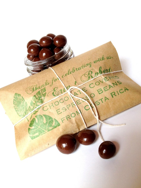 Chocolate Espresso Bean Wedding Favors /  Bridal Shower Favors. Custom Wedding or Corporate Gifts. Set of 20.