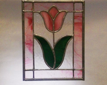Pink Tulip Stained Glass Panel