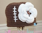 Touchdown Girls Crochet Football Beanie with removable Football Flower Hair Clip - 5 Year through Adult Sizes Available