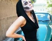 Black Hooded sleeveless dress