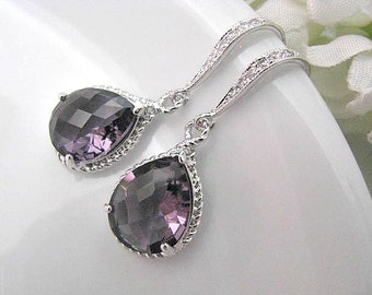 Amethyst Crystal Glass Drop With White Gold Cubic Zirconia Hook Earrings - Purple Bridal Wedding Jewelry, Bride, Bridesmaid, Maid Of Honor
