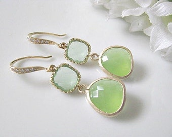 Spring Green And  Peridot Opal Glass Earrings With Gold Cubic Zirconia Hook Earrings, Bridal Earrings, Bridesmaid Earrings, Bridal Jewelry