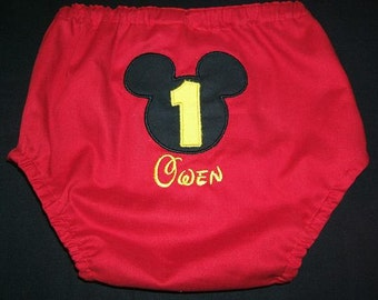Monogrammed Mickey Mouse Boy Birthday Diaper Cover Appliqued Personalized
