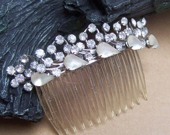 Vintage hair comb Hollywood Regency rhinestone hair accessory hair pin hair clip hair slide hair jewelry hair headdress