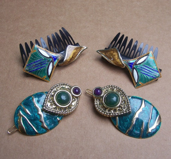 Vintage hair accessories hair barrette matched pair enamel hair comb hair slide hair clip