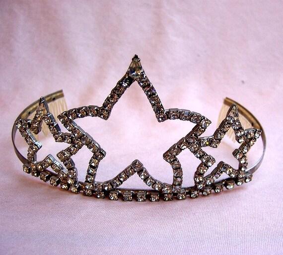 Vintage tiara rhinestone bridal Audrey Hepburn designer hair accessory with provenance (AAI)