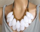 HUGE Double Strand Briolette Bib Statement Necklace Snow White Golden Bronze and Gray, Anthropologie Stormy Seas, Summer Infatuation
