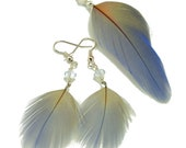 Long Powder Blue and Silver Real Feather Jewelry Necklace and Earring Set, On the Breeze