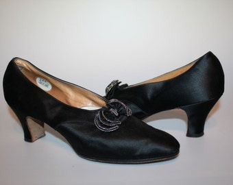 Lady Mary Dances - Vintage 1910s WWI Black Silk Heels w/Ruffle Buckle - J & T Cousins, Co.