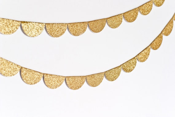 Scalloped Glitter Garland (Gold)- MADE TO ORDER