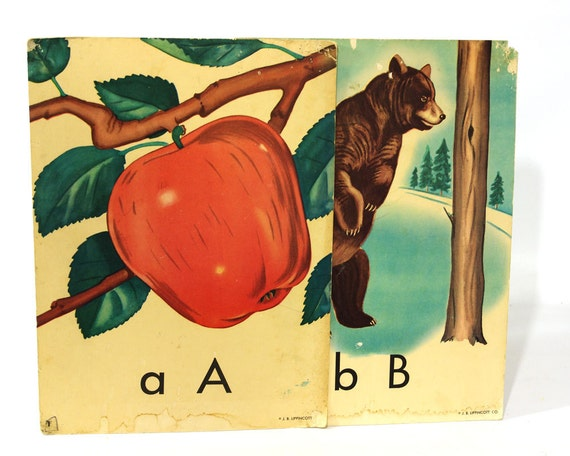 Vintage Classroom Alphabet Cards with Pictures