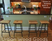 """Reclaimed Wood and steel industrial shop Stool. made in chicago. one 30"""" bar hieght stool"""