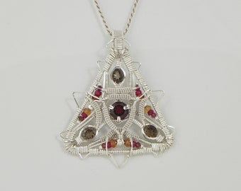 Faceted Garnet and Smokey Quartz Sterling Argentium Silver Wire Wrap Pendant