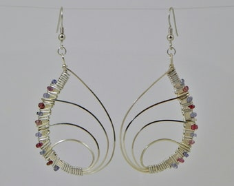Pink Tourmaline and Tanzanite Butterfly Wing Argentium Sterling Silver Wire Wrap Earrings