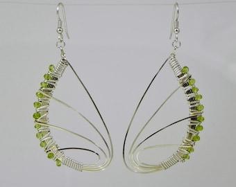 Peridot Butterfly Wing Argentium Sterling Silver Wire Wrap Earrings