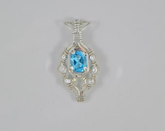 Swiss Blue Topaz Wire Wrap Pendant
