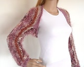 Rose pink hand knit shrug, knit bolero, womens sweater
