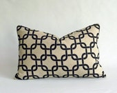 Designer Lumbar Pillow Cover in Gotcha Black  / Natural - 12x18 inch (Black Chain Link on Natural Linen)