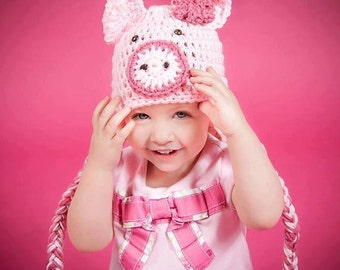 Crochet Animal Hats Pig Hat Newborn Photo Props Crochet Pig Hat Baby Shower Gifts Animal Beanie Handmade Hats