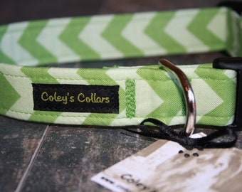 "Trendy Green Chevron Dog Collar ""The Chevron in Green"" Custom Dog Collar"