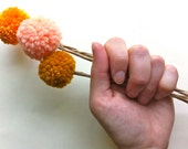 3 Autumnal Billy Balls / Craspedia / Fall Pom Pom Flowers / Pink, Tangerine, and Rust / Faux Billy Buttons
