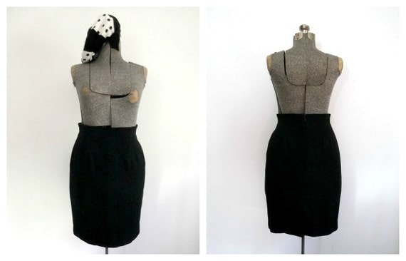 Vintage Black Pencil Skirt 1980s High Waisted Fitted Bodycon