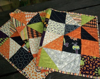 Halloween Table Runner Monster Bash Pinwheels Quilted