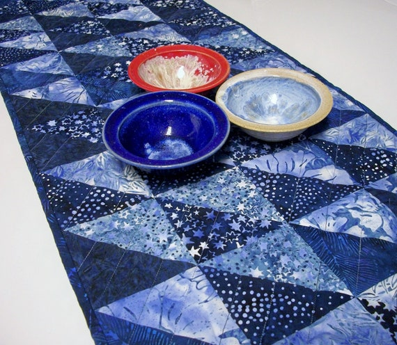 Reserved for Katy J. Indigo Table Runner Batik Blues Triangles Handmade Quilted Ready to Ship One of a Kind
