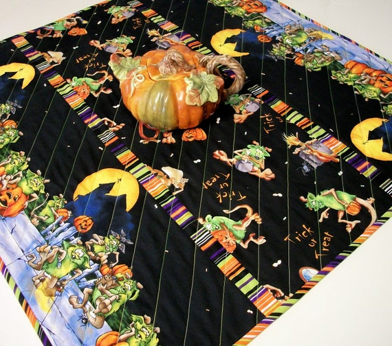 Halloween Table Topper Goblins Quilted