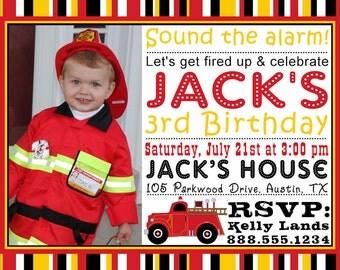 Firetruck Birthday Invitation Printable Fire Station Party Photo Invitation Personalized Digital Invite Boy Girl Subway