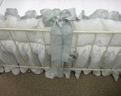 Washed Handkerchief Linen Crib Bedding - White with Dove Ruffles and Sash Style Ties-Ruffled Bumpers-Ruffled Crib Skirt