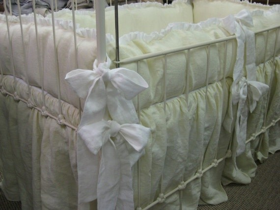 A Pair Of Ruffled Crib Bedding Sets In Washed Linen Twin Crib