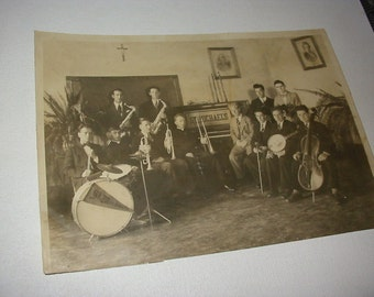Vintage College Band Photograph Musical Instruments St Michaels  College Colchester VT Photo Old Band Photo