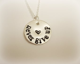 Never Give Up Sterling Silver Necklace