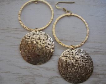 Gold Hoops, Dangle Earrings, Large 14K Goldfill Earrings, Hoop Earrings, Gold Hoops, Statement Jewelry