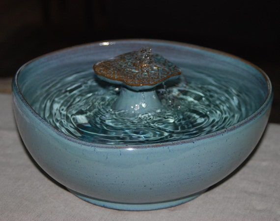 "Handmade, Food-safe, Ceramic Cat Fountain, ""Caribbean Bay Watertable"""