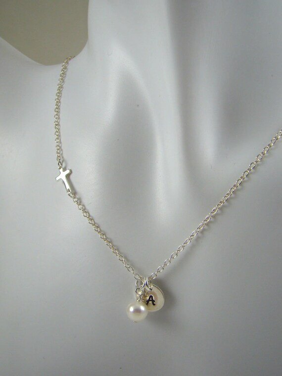 Custom Sideways Cross Initial Necklace, Confirmation Gift, Communion Gift, Sterling Silver