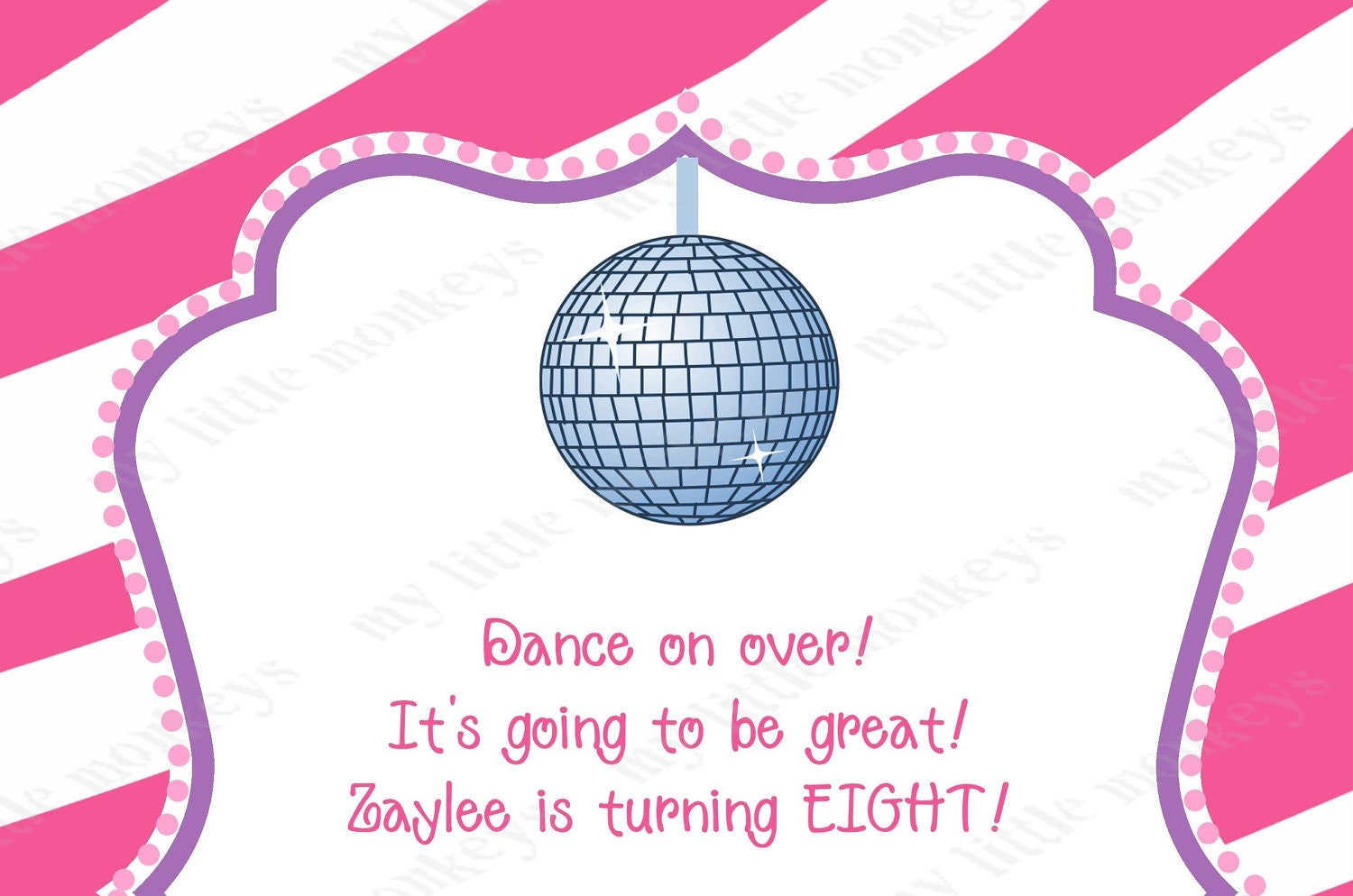 10 Dance Disco Birthday Party Invitations with Envelopes – Dance Party Invites