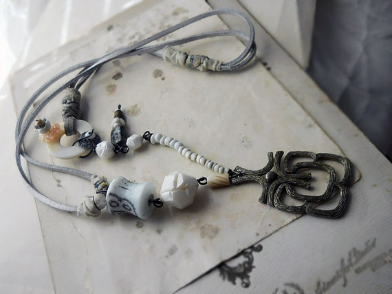 Beaded Necklace -- Vintage Metal Pendant - White Suede Cord - Trade Beads, Vintage Plastic, MOP - Rustic Assemblage Necklace