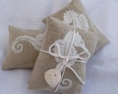 White Handprinted Seahorse on Linen Lavender Sachet Bundle of 2 for Coastal Living Gift