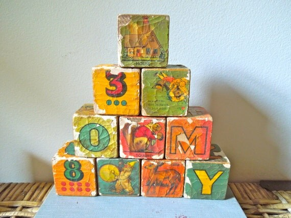 vintage or antique children's wooden picture blocks SET of 12